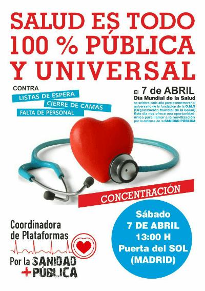 Día Mundial de la Salud, 7 de abril de 2018, Concentración.