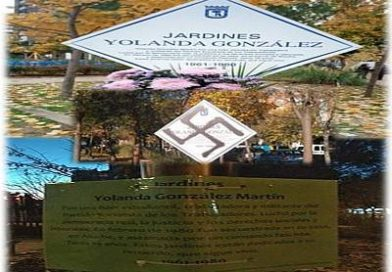 Vandalismo fascista sobre la placa recordatorio de Yolanda González Martín