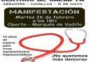 Manifestación el dia 26 de Febrero por la construcción de los centros de salud de Comillas, Abrantes y  Quince de Mayo, en Carabanchel Bajo