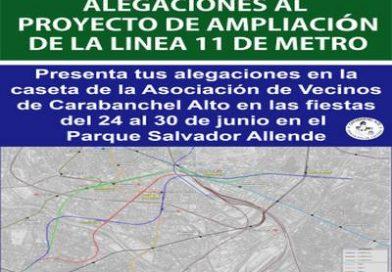 Tienes hasta el 30 de Junio para presentar tus alegaciones al proyecto de ampliación de la Línea 11